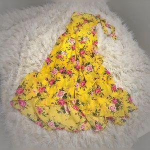 Hummingbird maxi flounce skirt